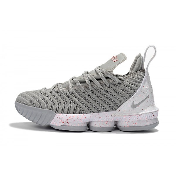 Men 2018 Latest Nike LeBron 16 Wolf Grey-White-Red