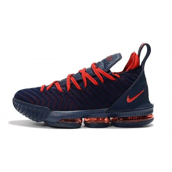 Men 2018 Release Nike LeBron 16 Navy Blue-University Red