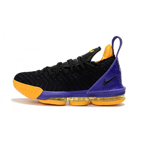 Men 2018 Nike LeBron 16 Black-Purple-Yellow