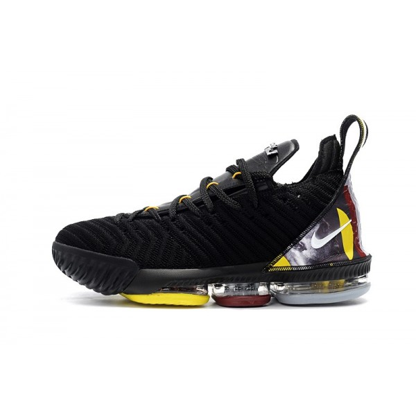 Men 2018 Nike LeBron 16 Black-Yellow-White