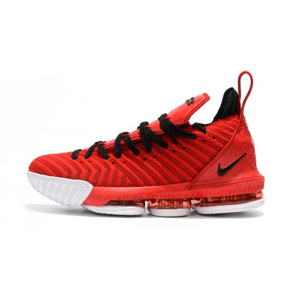 Men Nike LeBron 16 University Red-Black-White