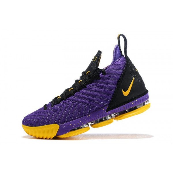 Men Nike LeBron 16 Lakers Purple-Black-Yellow Shoes