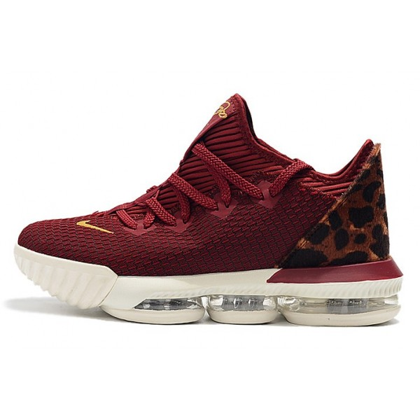 Men Nike LeBron 16 Low Wine Red-Metallic Gold-White