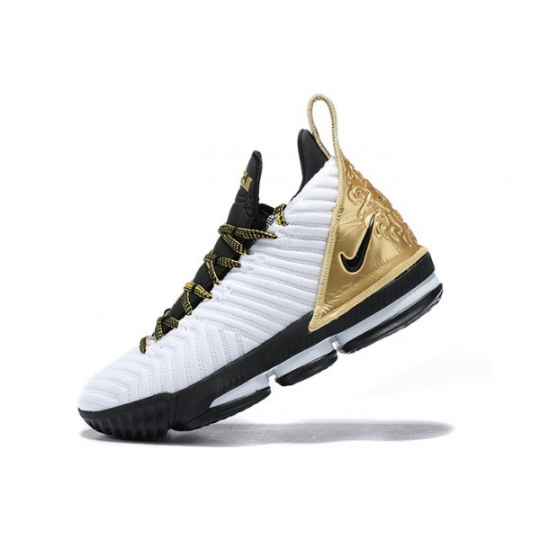 Men Nike LeBron 16 White Metallic Gold-Black
