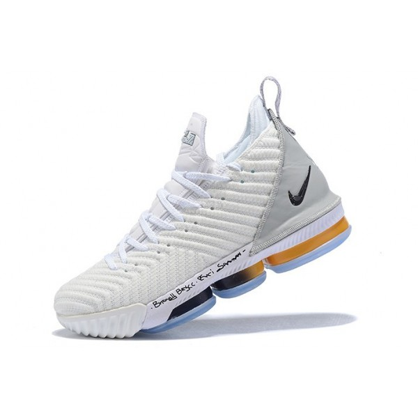 Men Nike LeBron 16 White-Grey-Orange