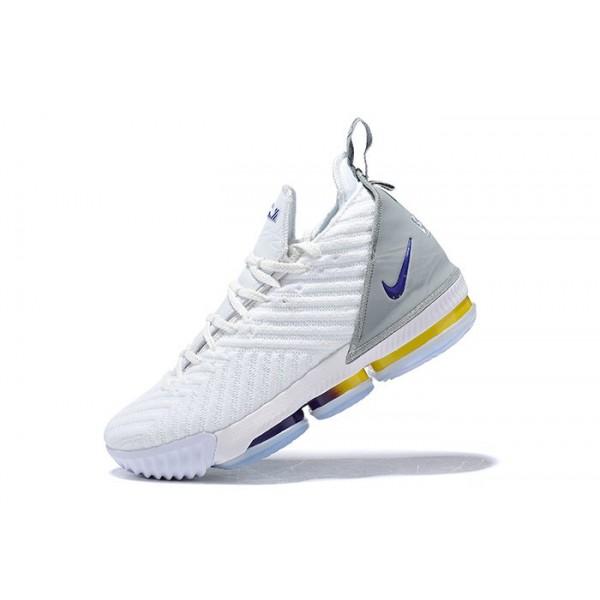 Men New Nike LeBron 16 White-Grey-Blue-Yellow