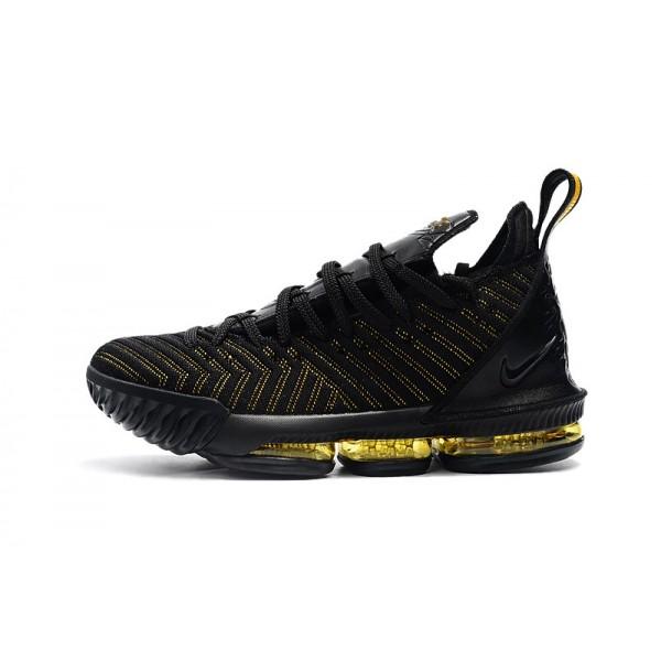 Men Nike LeBron 16 Black-Metallic Gold