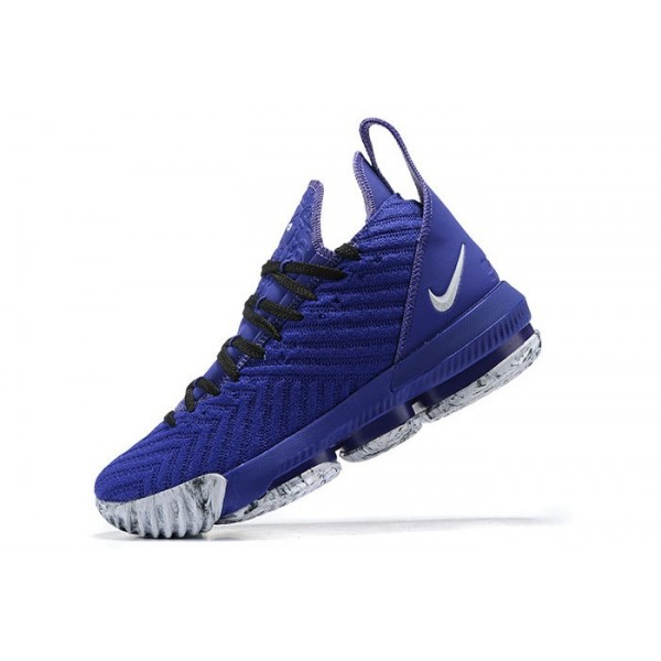Men Nike LeBron 16 Royal Blue Black-Whites