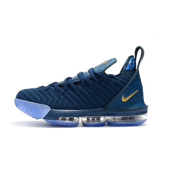 Men Nike LeBron 16 Shoes Agimat Blue-Metallic Gold