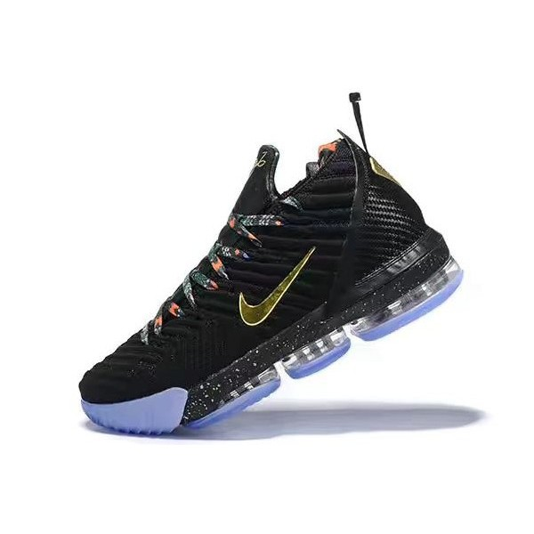 Men Nike LeBron 16 Watch The Throne Black Gold