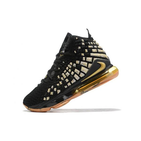 Men Sell Nike LeBron 17 XVII EP Black-Gold-Gum