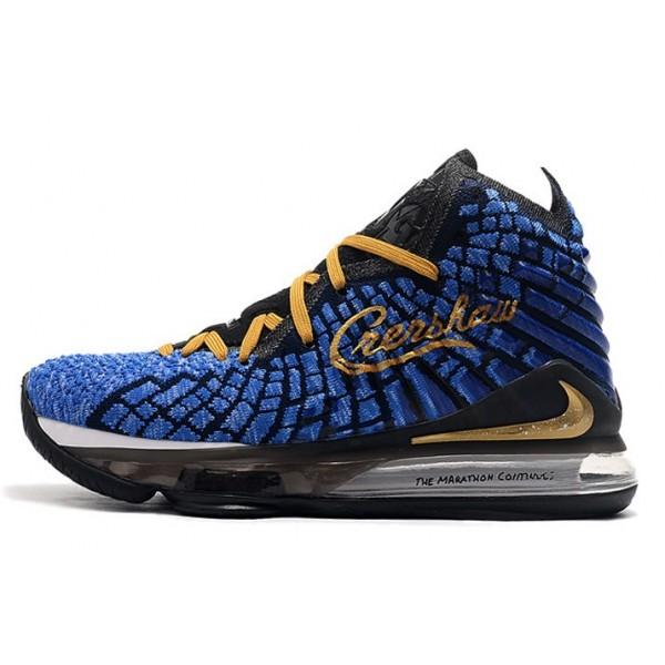 Men Nike LeBron 17 Black-Blue-Gold-White
