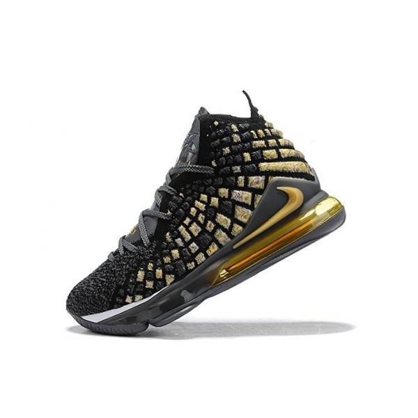 Men Nike LeBron 17 XVII EP Black-Gold-Grey-White