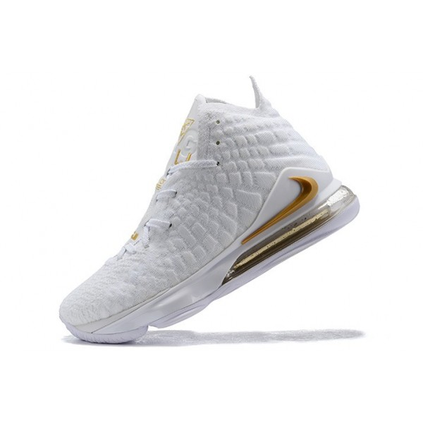 Men Nike LeBron 17 White-Metallic Gold