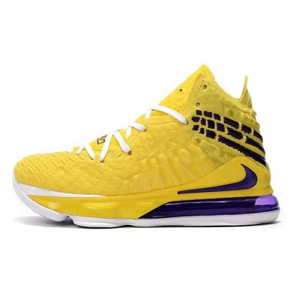 Men Nike LeBron 17 Shoes Yellow-White-Blue
