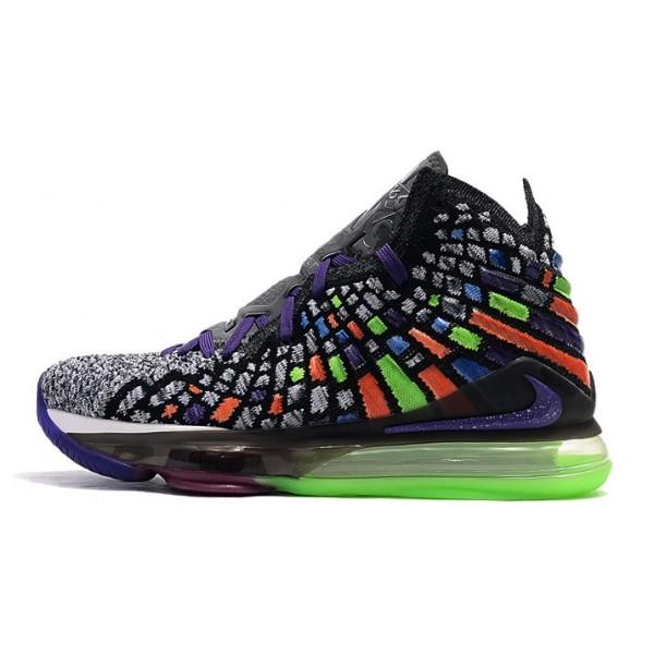 Men New Nike LeBron 17 Grey-Multi-Color