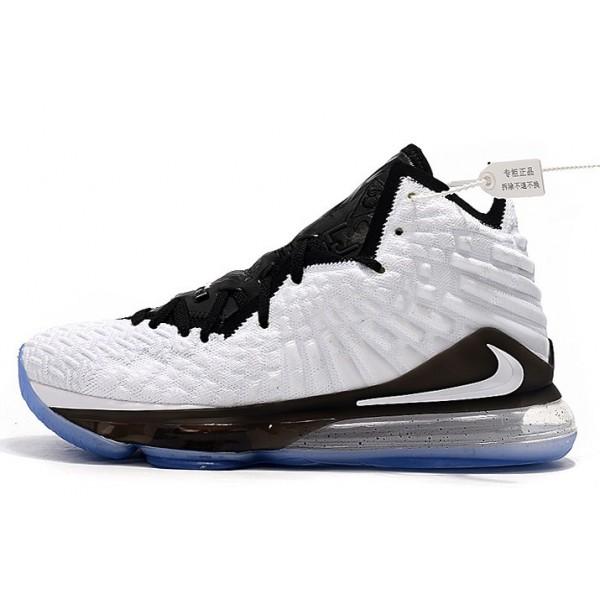 Men/Women New Nike LeBron 17 White Black-Metallic Silver