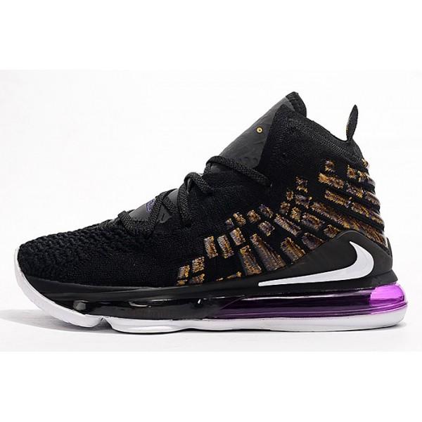 Men/Women Nike LeBron 17 Black-Metallic Gold-White