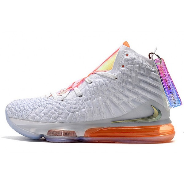 Men Nike LeBron 17 Future Air White-Orange