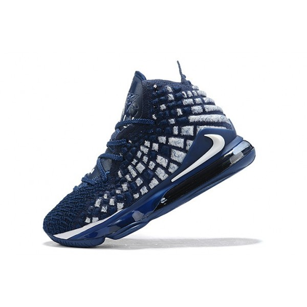 Men Nike LeBron 17 XVII EP Navy Blue-White-Black
