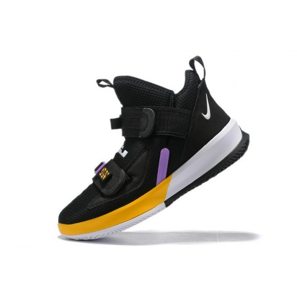 Men Nike LeBron Soldier 13 Lakers Black White