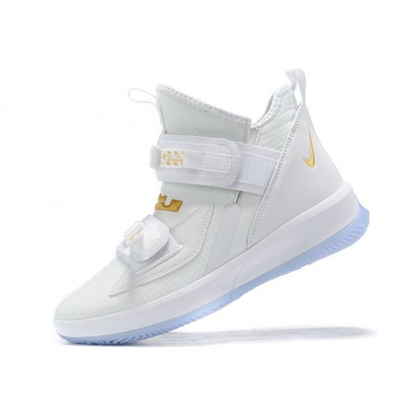 Men Nike LeBron Soldier 13 White Metallic Gold