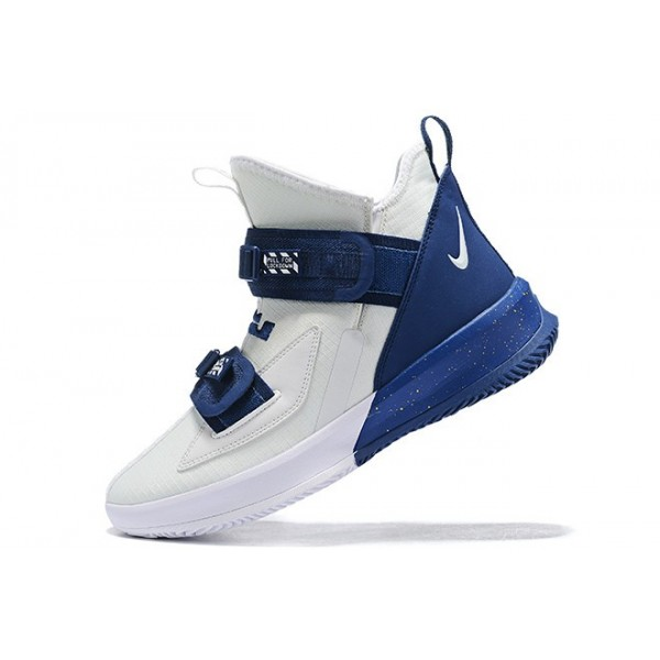 Men Nike LeBron Soldier 13 White-Navy Blue