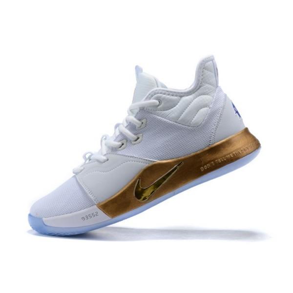 Men Nike PG 3 NASA Apollo Missions White Gold