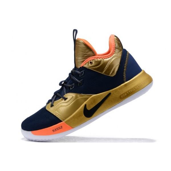 Men Nike PG 3 Navy Blue-Metallic Gold-Orange