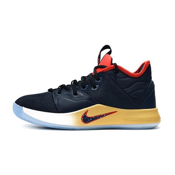Men Nike PG 3 Navy Blue-Red-Metallic Gold