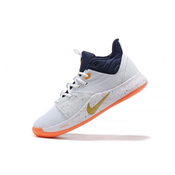 Men Nike PG 3 White Navy Blue-Orange
