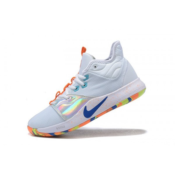 Men Nike PG 3 White-Silver-Orange-Blue